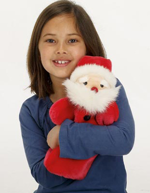 Santa is 33 cm tall and made from thick, soft red velvet. He has a red velvet nose and the red velvet black buttons. He is also inner lined with cotton. His head is 3 dimensional and cotton wadded; with a large fluffy white beard, and eyebrows. His hands and head are controllable.