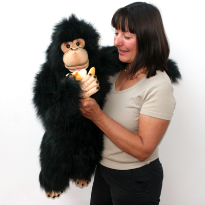 Extra Large full-bodied Chimpanzee puppet with hand access between the front legs making them easy to use for all ages.