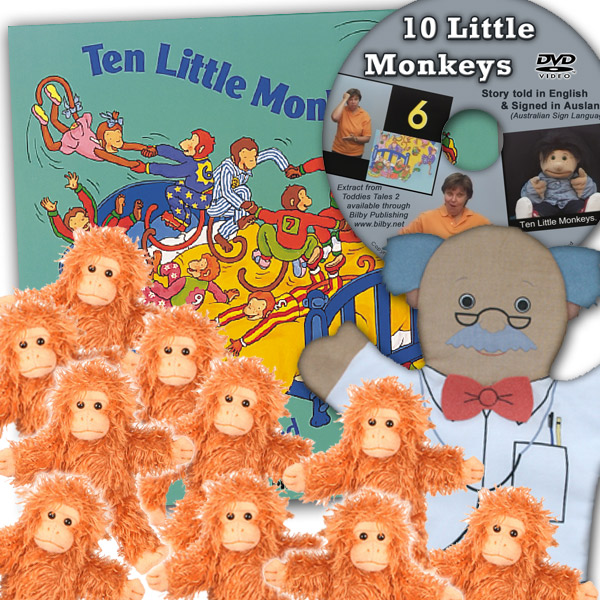 This set can be used to act out the story of 10 Cheeky Monkeys jumping on the bed. It includes the book plus Auslan DVD, a doctor hand puppet and 10 monkey finger puppets that are full bodied and can also be used as monkey toys; that's over <b>$114 in value!</b>. </br></br>