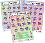 Auslan Feelings Posters series (3) - Beginner, Intermediate and Advanced