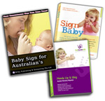 Baby Signing Starter Pack including : Baby Sign for Australians (book), Sign Baby (new DVD), and Hands Up and Sing (DVD and CD set)