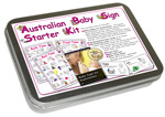 Australian Baby Sign : Starter Kit. (inc Book, 3 Posters, 40 household and clothing lables; presented in a beautiful storage tin)