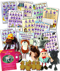 Nursery Rhyme Mega Set - 10 posters, 11 finger puppets, Plus DVD/CD package Hands Up and Sing