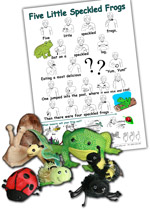 5 Speckled Frogs - Auslan Insects set (inc A4 song sheet, Insect vocabulary page and 7 finger puppets - Frog, Bee, Caterpillar, ladybug, hairy spider, butterfly, snail